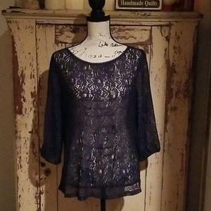 NWT Women's Ann Taylor LOFT Navy Blue Lace Shirt L